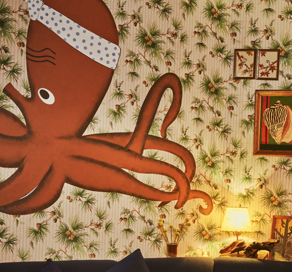 Painting of an octopus on the wall