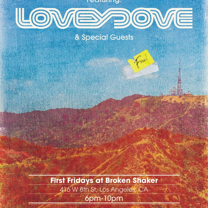 """Flyer from the """"Dj Loveydove"""" event at Freehand Hotel Los Angeles"""