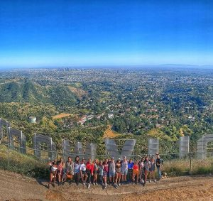 Group of people hiking to the Hollywood sign