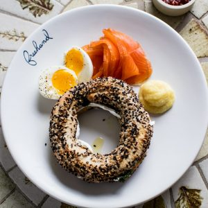 Breakfast dish with a bagel at Freehand Hotel New York