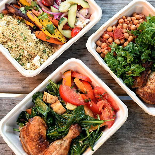 Mixed food in take-away boxes
